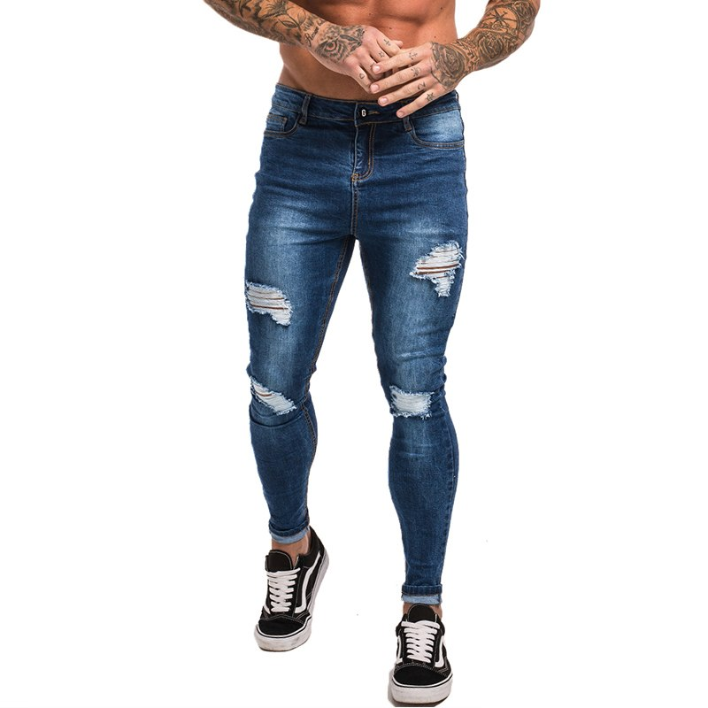 222a54ec08ea Gingtto Man Skinny Jeans Men Blue Ripped Jeans Stretch Hip Hop Super Skinny  Streetwear Slim Fit