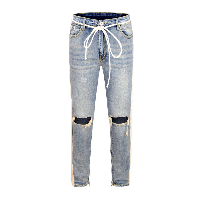 e907b4ad18ab1a KANYE WEST Fear of god Knee Hole Side Zipper Slim Distressed Jeans Men  justin bieber Ripped