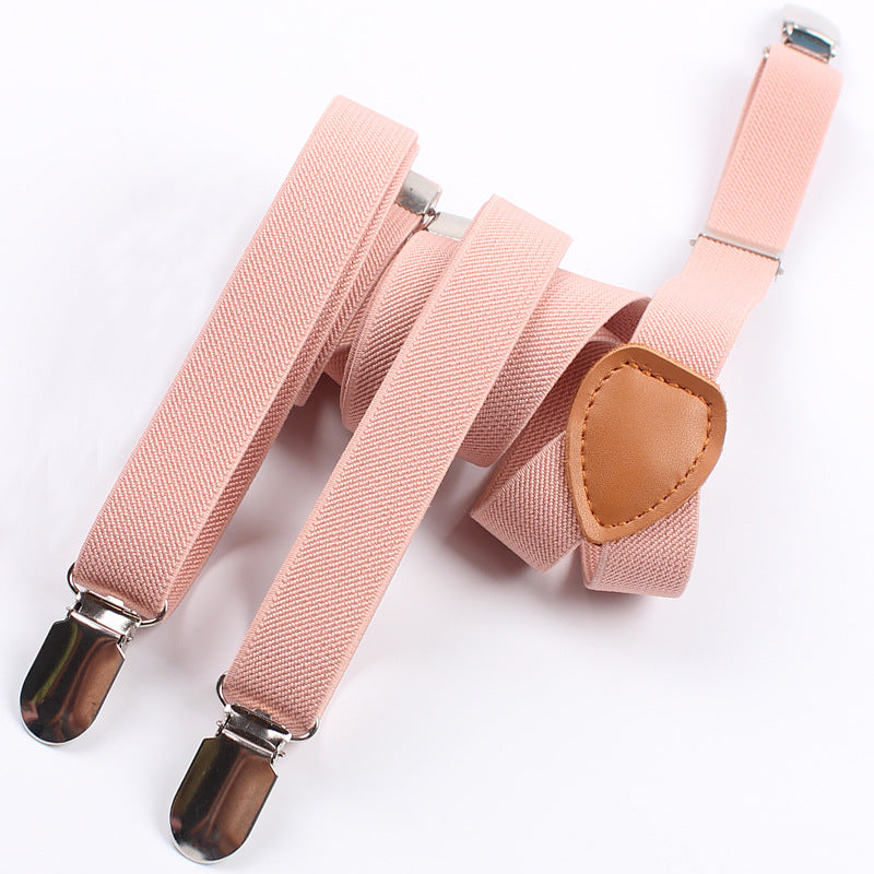 Men Y-shape Solid Or Dot Suspender Non-slip 6 Clips Elastic Adjustable Braces Apparel Accessories