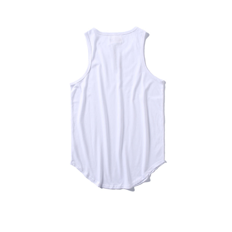 0aa990a3dcb60e Solid Color Curved Hem Long line Tank Tops Men Summer Blank Extended Hip  Hop Tank Tops