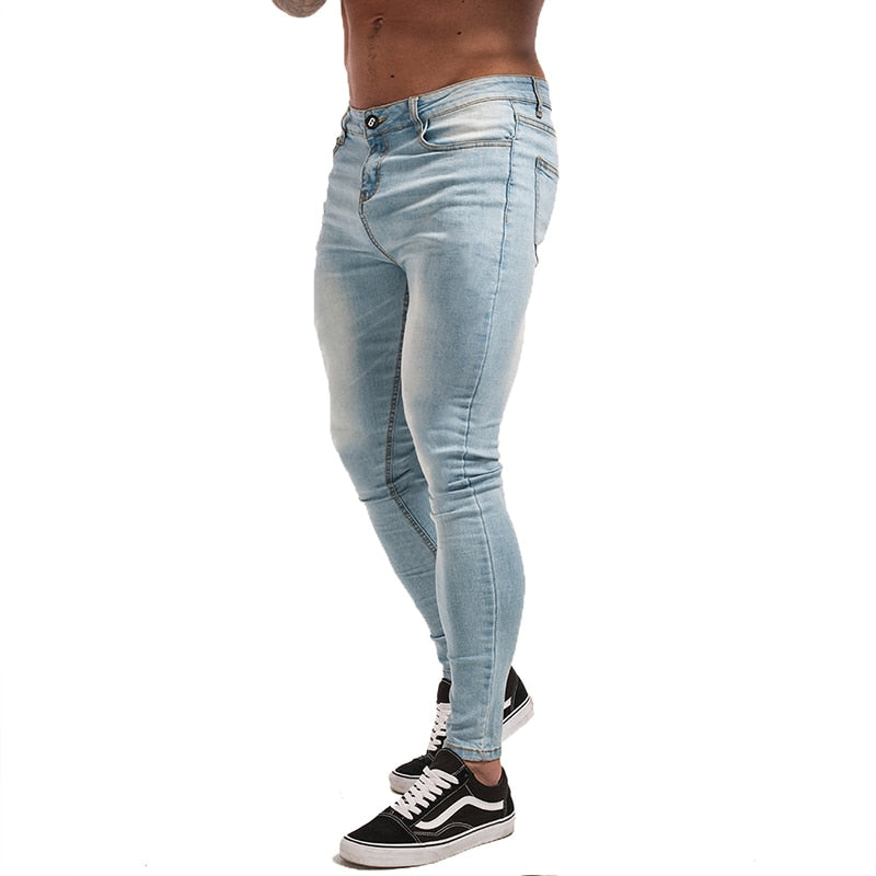 3bc988c8713543 Gingtto Blue Jeans Slim Fit Super Skinny Jeans For Men Street Wear Hio Hop  Ankle Tight