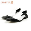 Fashion Men Dress Shoes White Black Metal Pointed Toe Genuine Leather Business Party Shoes