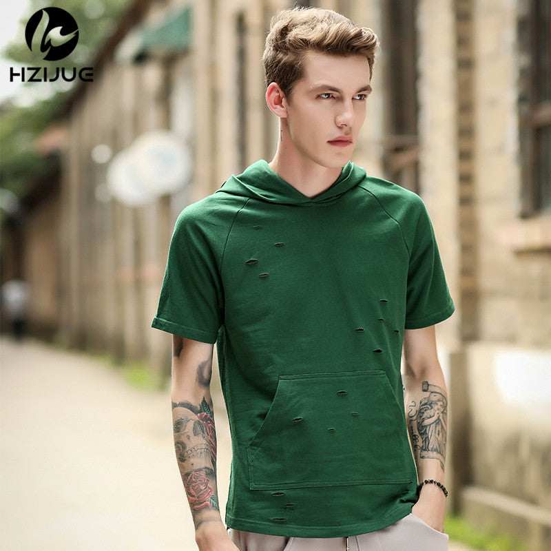 f254dc406f61 Summer Men Hip Hop Ripped Hole T-shirts Short Sleeve Tops Loose Streetwear  Men Clothes