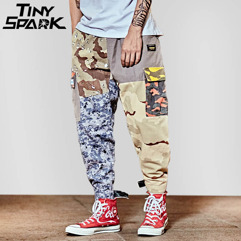 30be3881e2 Hip Hop Pant Street wear Men Baggy Harem Pant Ankle Patchwork Trousers  Pocket Casual Camouflage Tactical