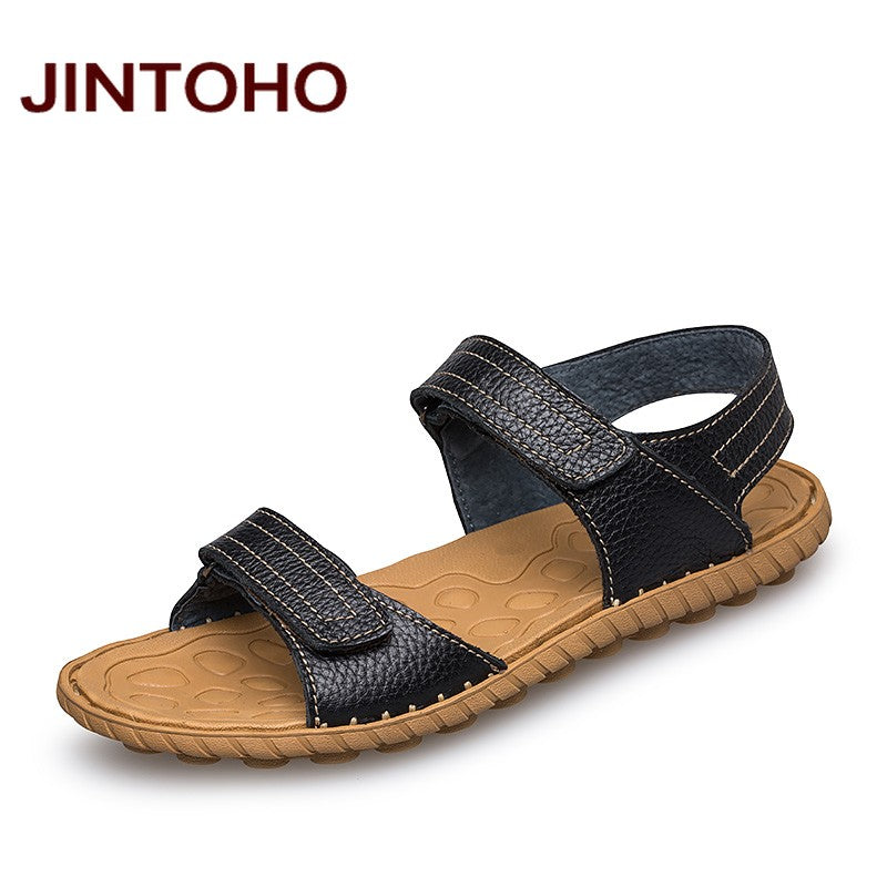580fc126e New Summer Leather Men Sandals Luxury Genuine Leather Sandals Men Fashion Men  Leather Sandals