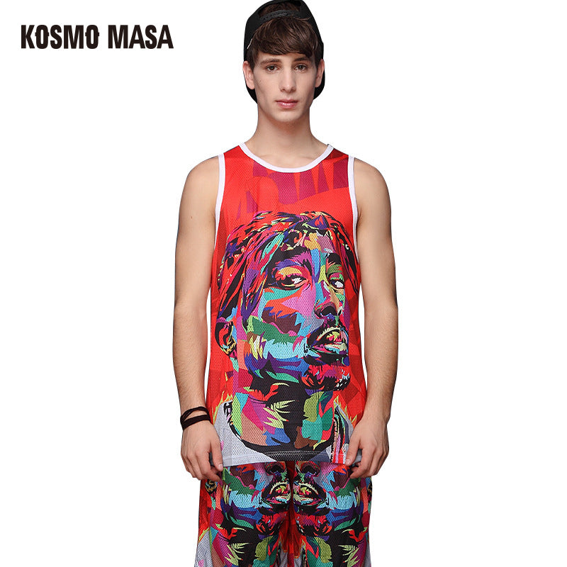 fb9af64f6c3 Summer 3d Printing Tank Top Shorts Suit For Men Tank Tops Men s Sets  Polyester Jersey Tracksuits