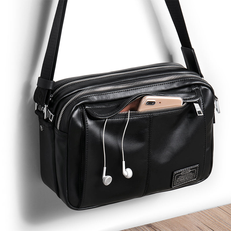 Genuine Leather Shoulder Bags for Men Black Messenger Bags Travel iPad Male  Cross body Bags 8a0199b960e17