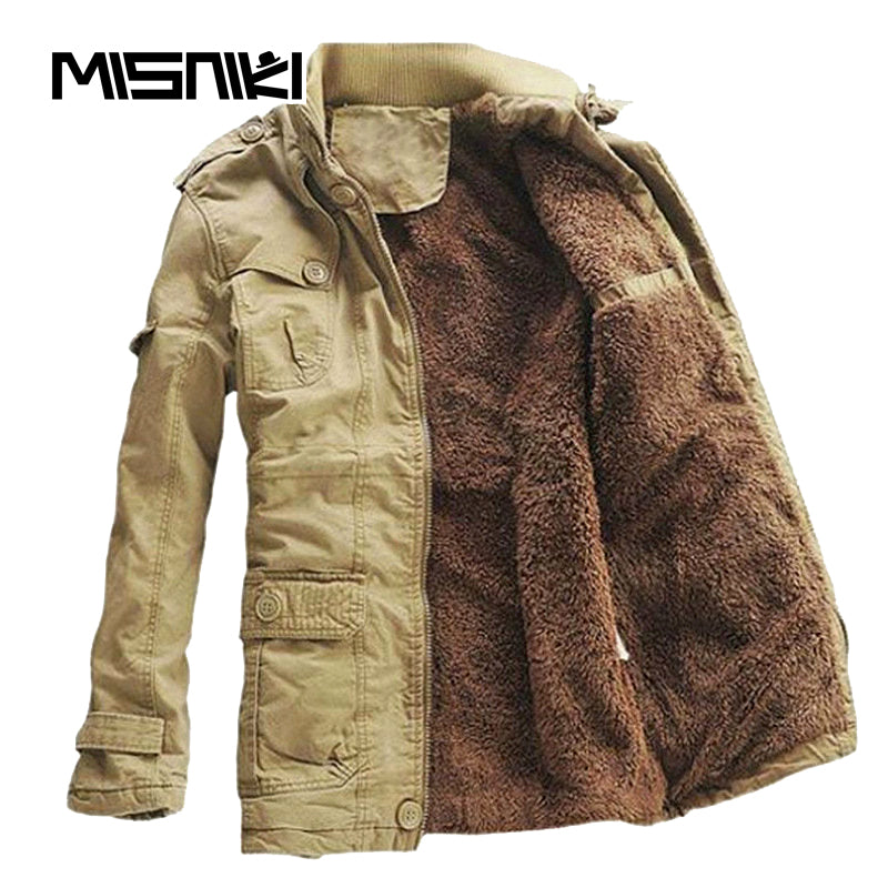 Thick Warm Winter Jacket Men Casual Slim Hooded Parka Men Youths