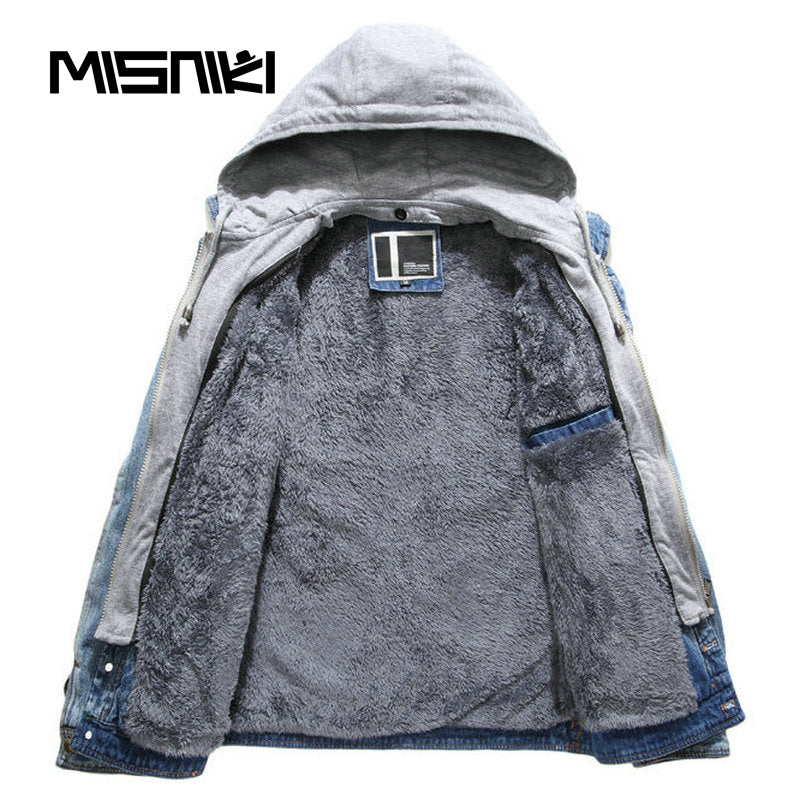 59a714953 Autumn Winter Denim Jacket Men Hooded Casual Warm Men's Jean Jacket ...