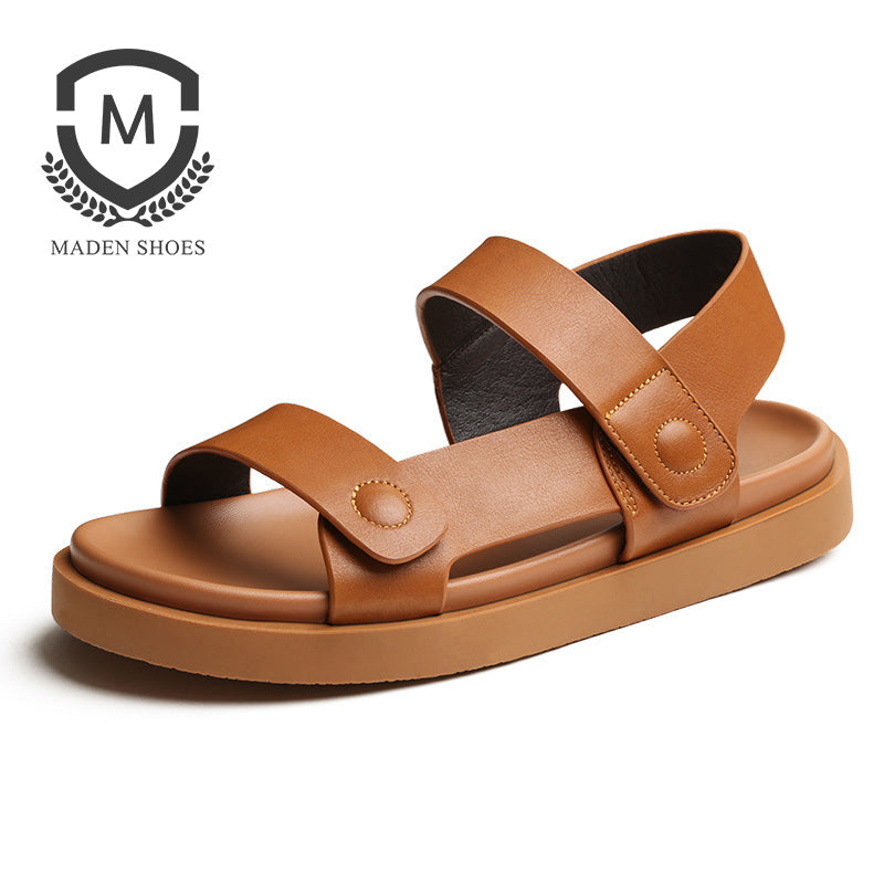 c65df1df5b26 Summer Men sandals Genuine Leather Breathable Open-toed Beach Shoes Top  Quality Casual Handmade buckle