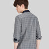 Autumn Cotton Grey Striped Slim Long-sleeve Casual Men Shirts