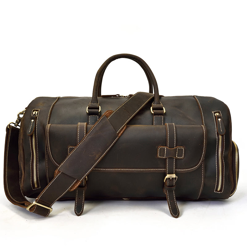 Men Thick Leather Travel Bag With Shoe Pocket New Design Real Leather  Weekend Bag Vintage Crazy 921005eb51e08
