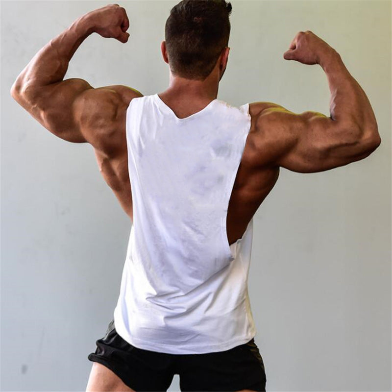 0f07148d Men's Cut Out Sleeveless shirt Gyms Stringer vest Blank Workout T-Shirt  Muscle Tee Bodybuilding