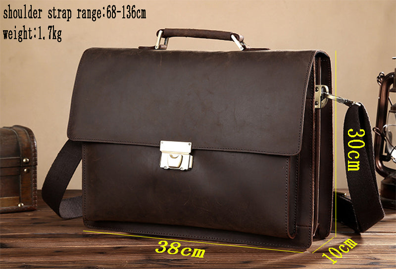 Men s Genuine Leather briefcase with dial lock Vintage Business bag Cowhide Laptop  Handbag Mens Work tote 852bc8dac14e5