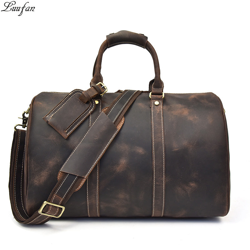7d5a85f114 Men s Vintage Crazy horse leather travel duffel genuine leather travel bag  Durable cow leather Weekend bag