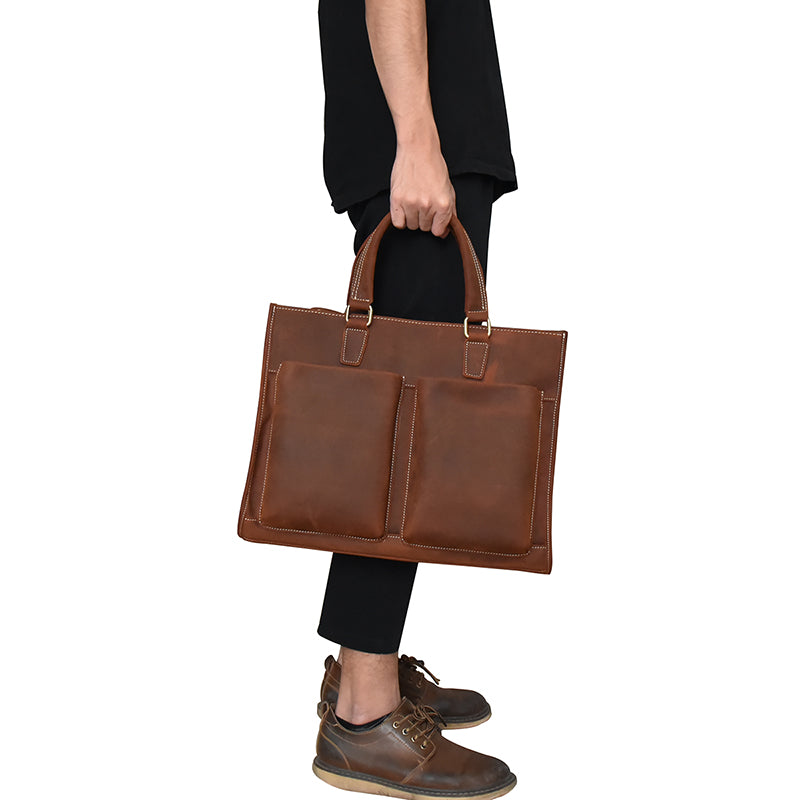 3569c34d4ac9 Men s vintage genuine leather Briefcase Fit Cow leather business bag work tote  bag crazy horse leather
