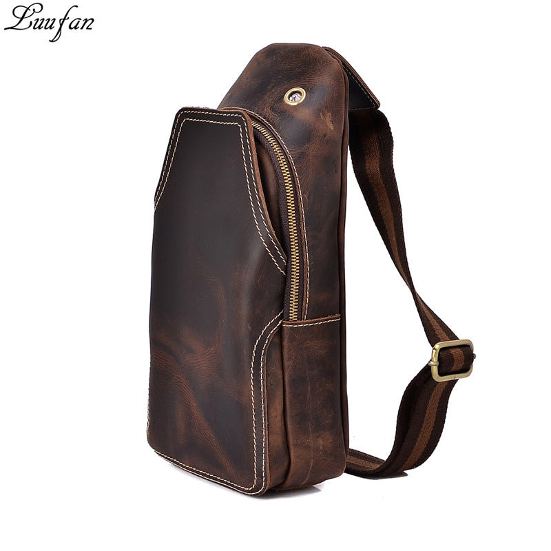 6a2b91cafa Men s vintage genuine leather Chest bags crazy horse leather mini riding  crossbody bag cow leather travel