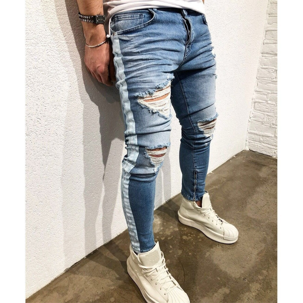 1d2c842a5f60 Distressed ripped holes Side striped Zipper hip hop jeans - ThreadCreed