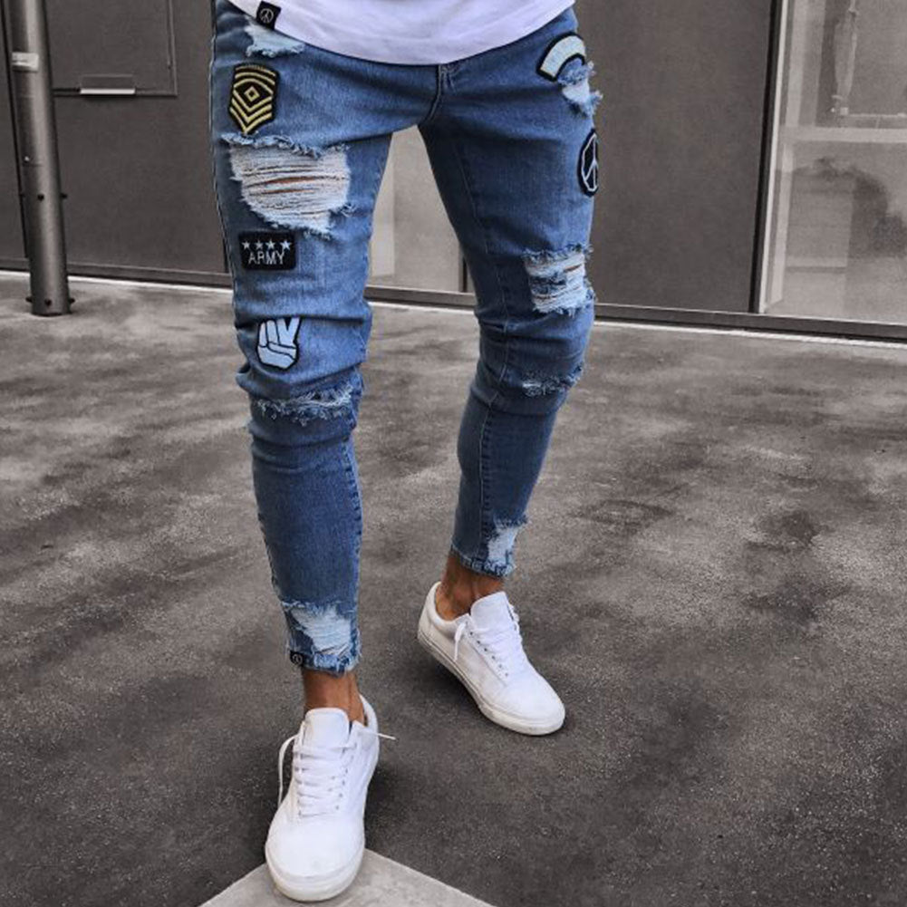 0b5e0579c Distressed Ripped holes Badge hombre Slim Fit jeans - ThreadCreed