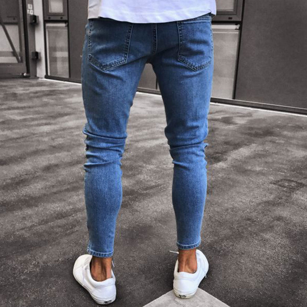 nuevo concepto 55967 ad64c Distressed Ripped holes Badge hombre Slim Fit jeans