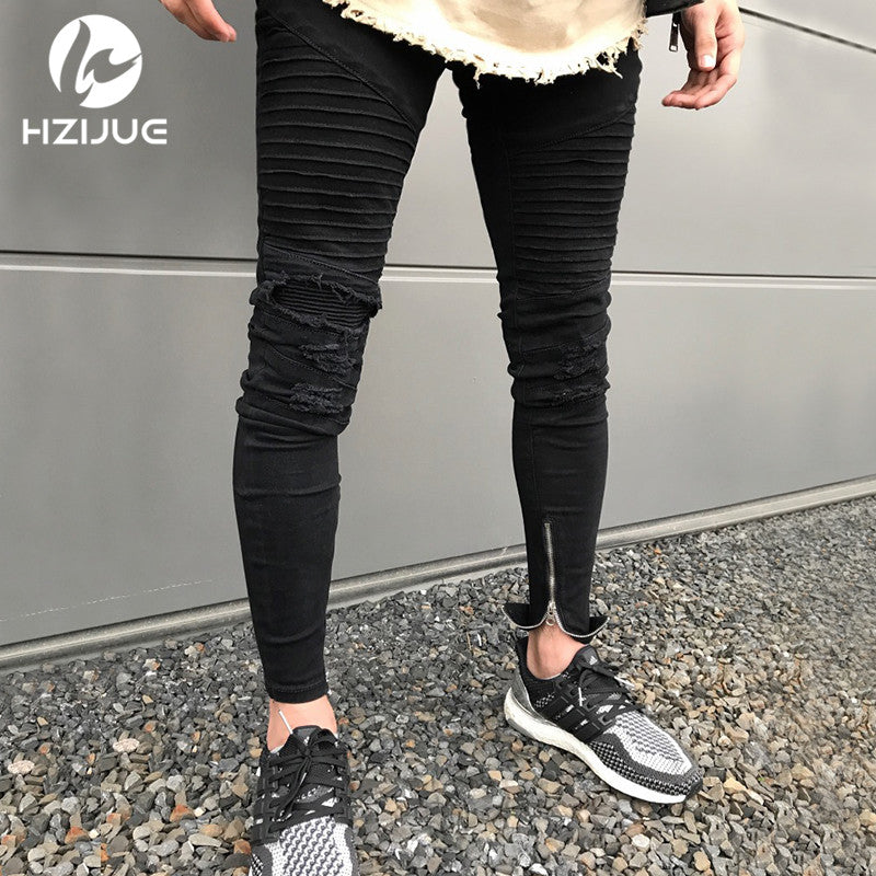 686f6065008 Men Knee Zipper Destroyed Jeans Skinny Stretch Ripped Designer Pencil black  blue biker men Jeans Joggers