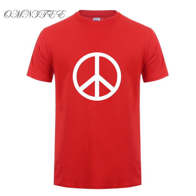 Printed Peace Symbol Men T Shirt Summer Short Sleeve Cotton O Neck