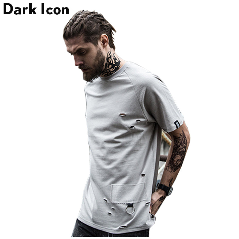 Off-shoulder Ripped Hip Hop T shirts men Summer Terry Material Cotton  Casual Men Tee Shirts Blank T-shirt for Men Male Top