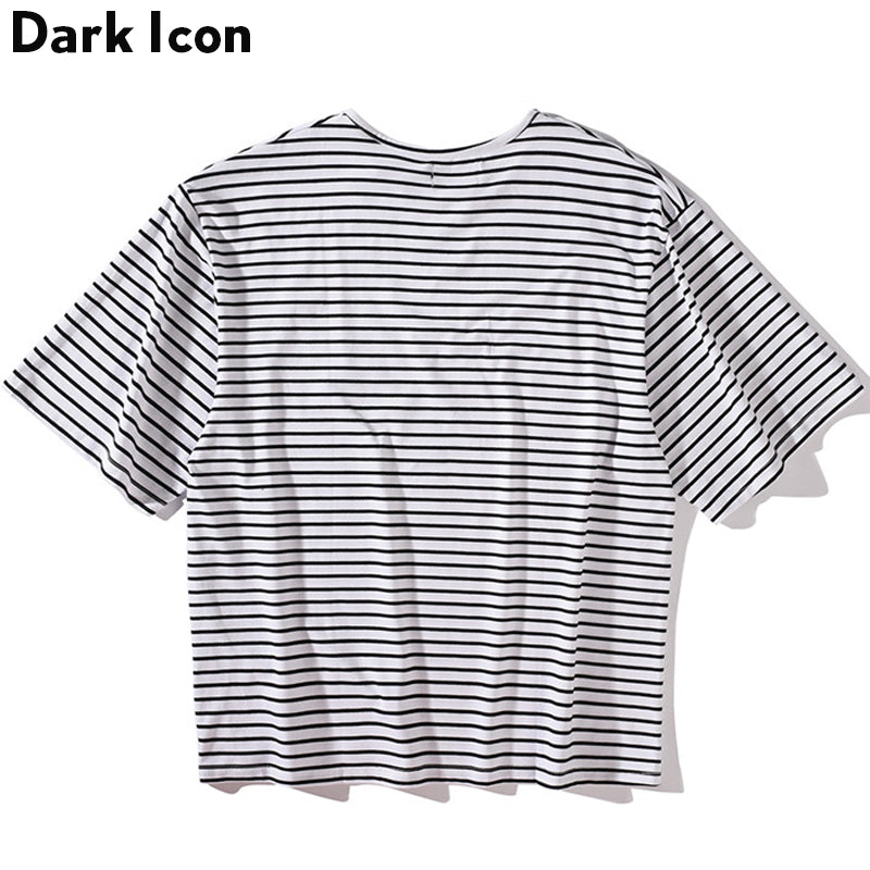 Oversize Striped T-shirt Men Short Sleeve Summer Street
