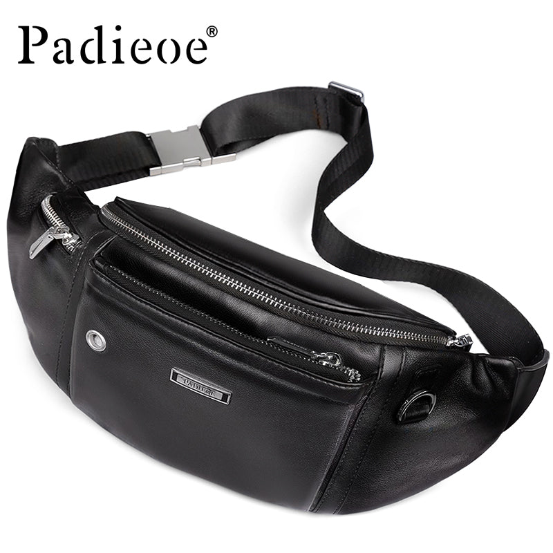 c741e808da1f4 Genuine Leather Belt Bag for Male Casual Small Bag for Phone Leisure Waist  Packs Fashion Chest
