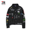 Patchwork jeans jacket Long Sleeve Men Hip Hop Printed Pocket Casual Shirts Fashion Street wear