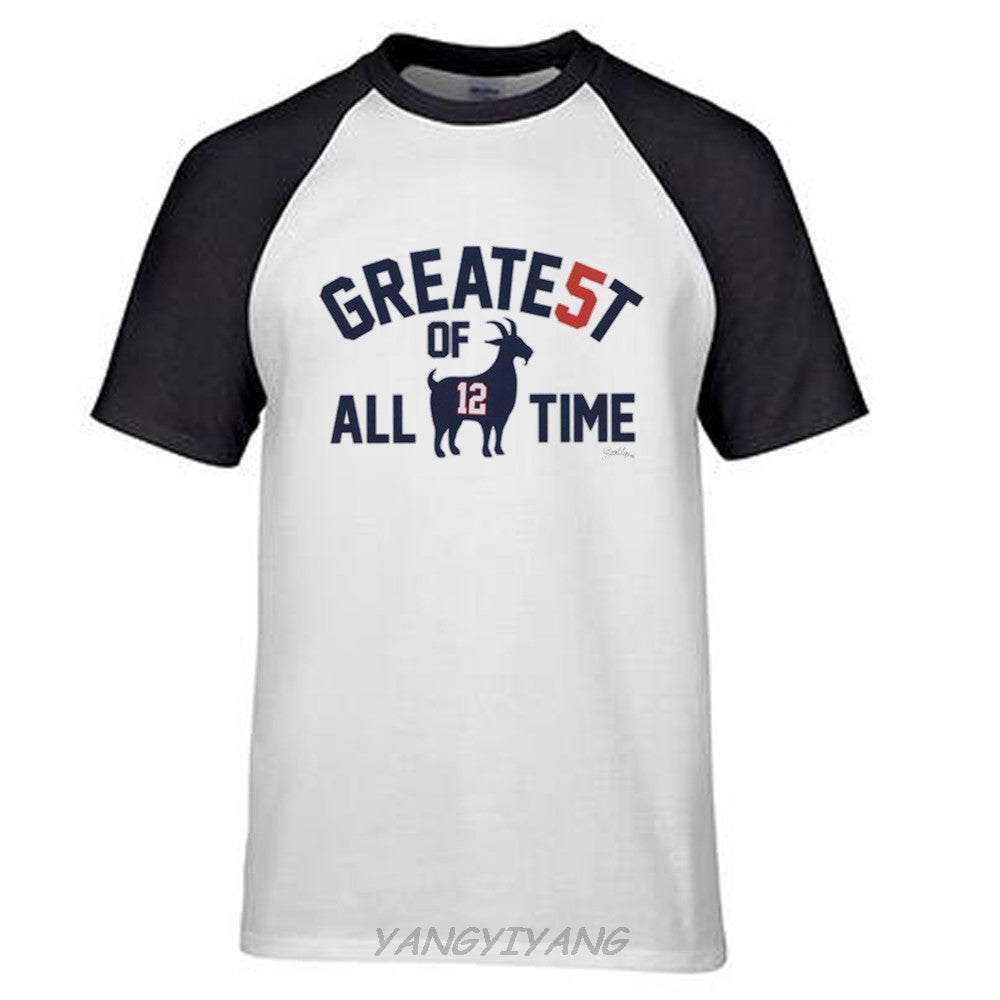 outlet store de000 6252e Patriots Champions Tom Brady GOAT Greatest of All time T Shirt Men cotton  top tees summer t shirt