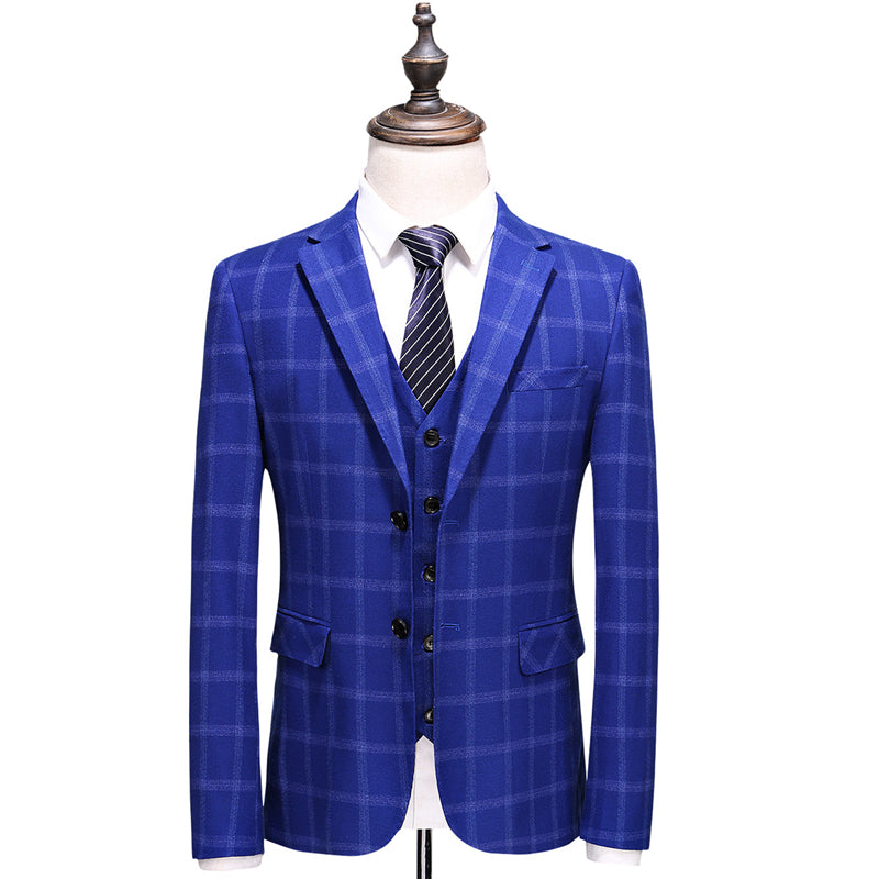 9f69abc345 3 Piece Plaid Suit Men Slim Fit Navy Royal Blue Wedding Suits Designer  Business Dress Suits