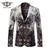 Blazer Men Peacock Printed Men Blazers Casual Suit Jacket Slim Fit Home Blazer Men Stage Wear Coat