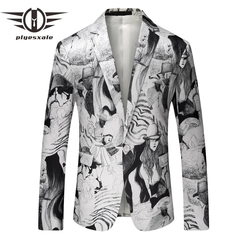 Men Blazer Fashion Printed Men Casual Suit Jacket Stylish Luxury Men Jackets And Coats Stage Wear