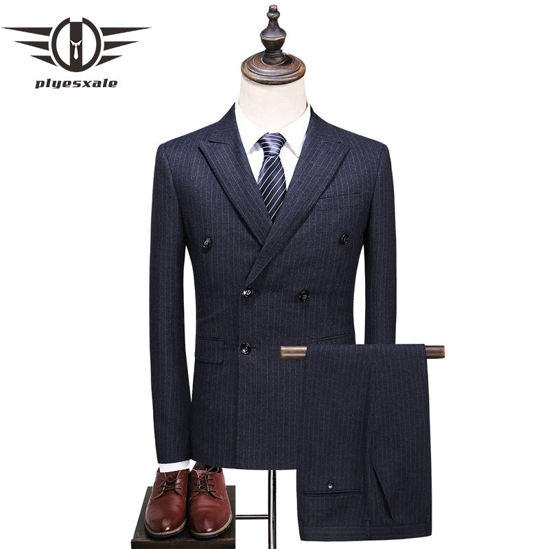 de8e72449f75fe Men Double Breasted Suit Slim Fit Vertical Striped Suit Men Luxury Wedding  Suits Formal Wear