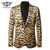 Men Leopard Print Blazer Autumn Slim Fit Men Velvet Blazers Wedding Party Blazer Jacket Prom Stage Wear