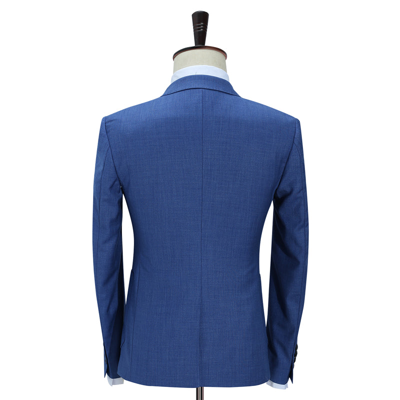 Slim Fit Men Suits For Wedding One Button Dark Blue Light Blue Men Formal  Suits Spring Autumn 3 Piece Suit 9f27235d2