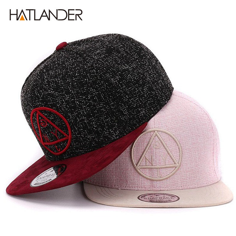 671e5296e7a Cap NY round triangle embroidery flat baseball cap youth hip hop cap and hat  for boys