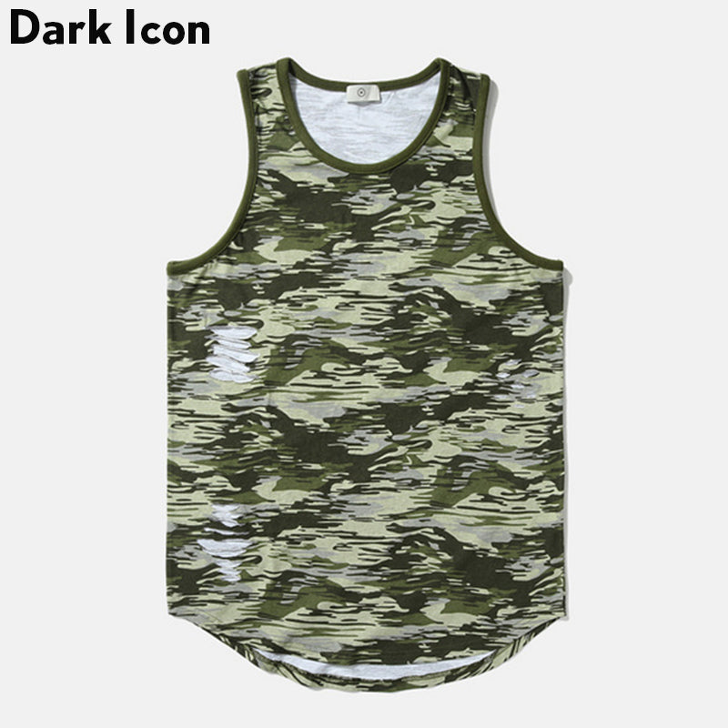 012b5ac6dd80c6 Ripped Curved Hem Hipster Tank Top Men Summer Destroyed Camouflage Hip Hop  Tank Top Como Men s