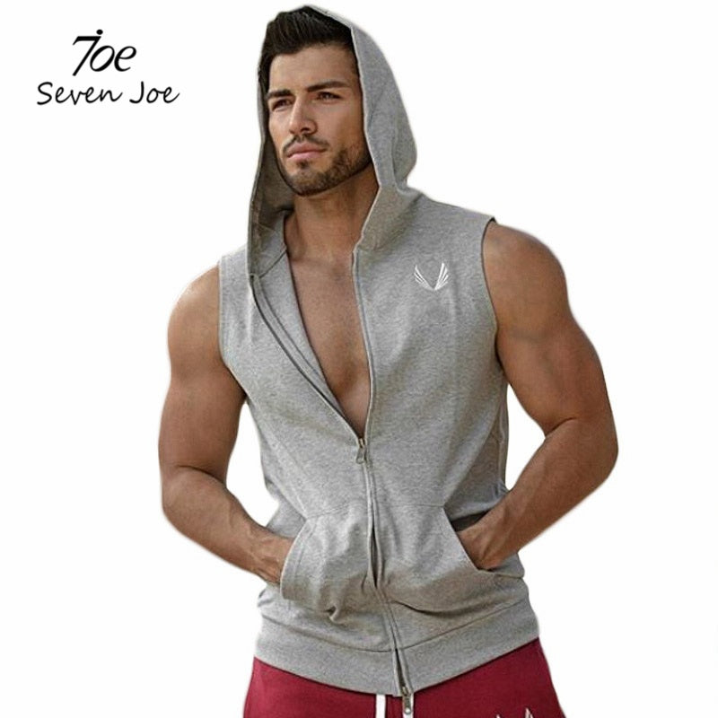 ccc11d876e9466 Men Cotton Hoodie Sweatshirts fitness clothes bodybuilding tank top men  Sleeveless Tees Shirt Casual golds vest