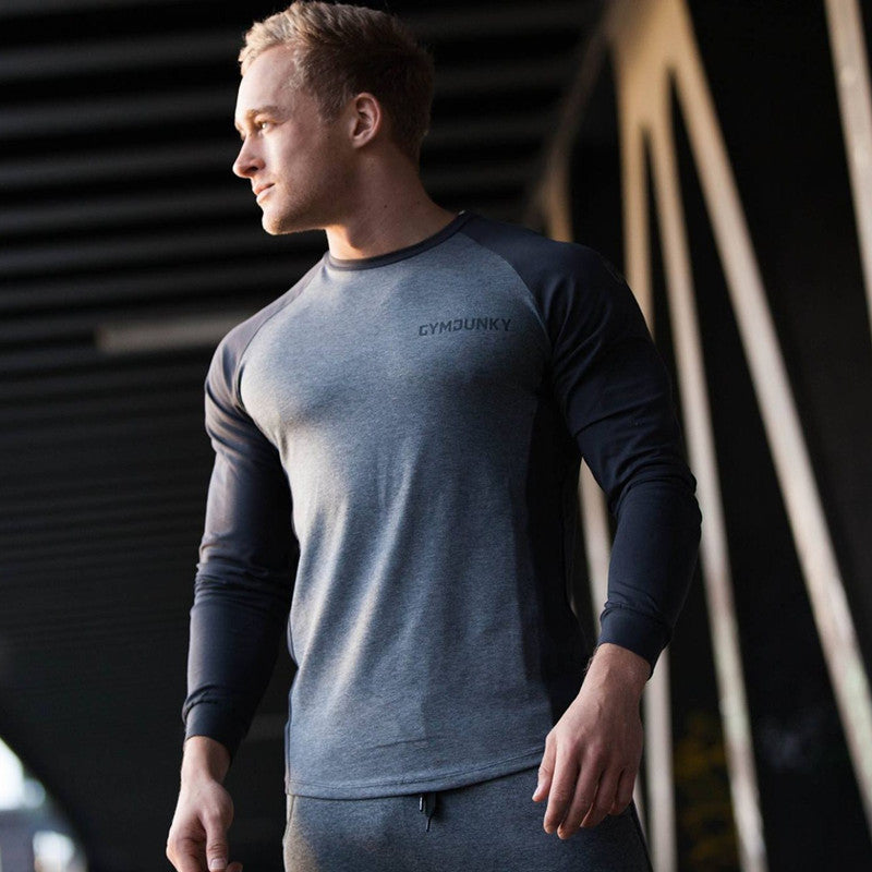 60e298ba Men style T-shirt gyms Fitness Bodybuilding Shirts Slim fit Fashion Casual  Male long sleeves
