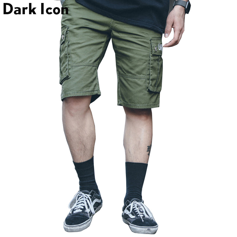 25d0c033538 Side Pockets Cargo Shorts Men Summer Elastic Waist Casual Men s Shorts Knee  Length Shorts Black Green
