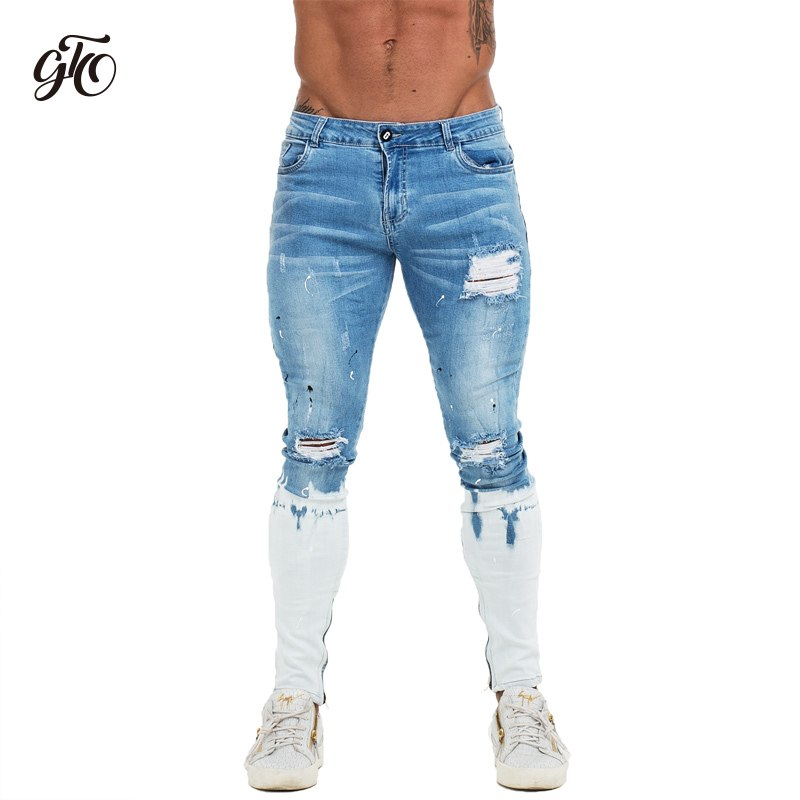 56565e2315b8 Gingtto Mens Skinny Jeans Blue Ripped Skinny Jeans Men Super Stretch Faded  Color New Design Dropshipping