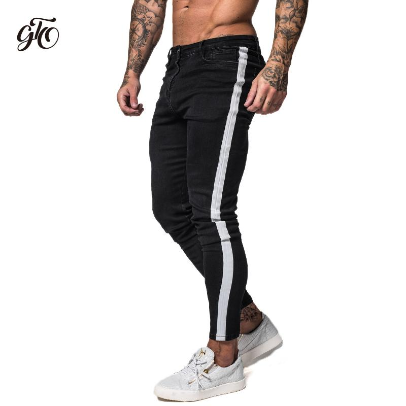 9cab47ace0f Gingtto Black Skinny Jeans For Men Denim Stretch Slim Fit Jeans Brand Biker  Style Classic Hip
