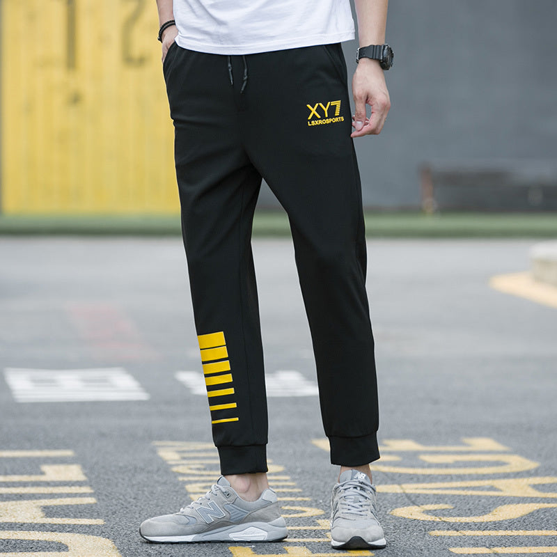Men Printing Pants Winter Out Wear Solid Joggers Sweatpants High