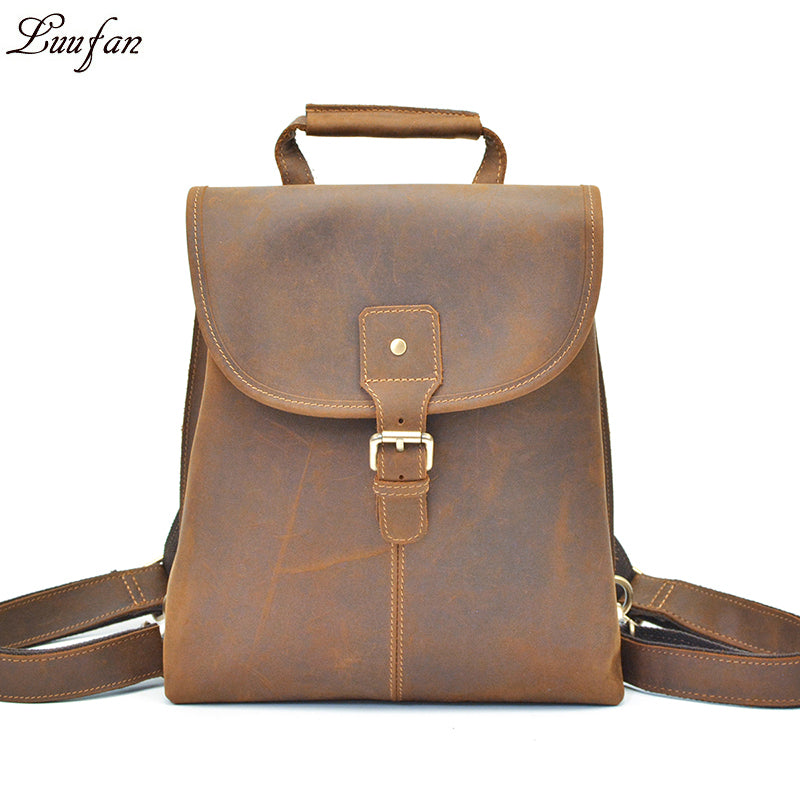 996eb9cdb1 Women vintage crazy horse Leather backpacks Laptop Men genuine leather  rucksack iPad casual flap Cow leather