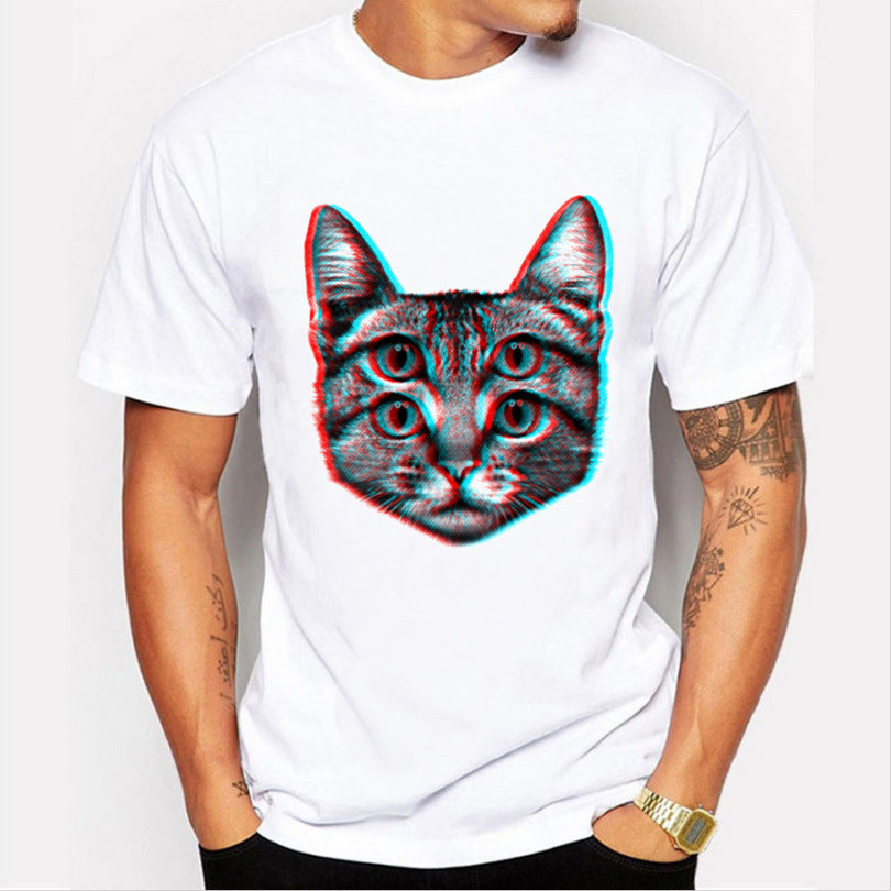 Summer Male Hip Hop Cat Pattern Printed Casual Cotton T Shirt