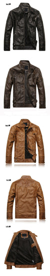 Spring Autumn Leather Jacket Men Slim Short Stand Collar Jaqueta Couro Bomber Jacket Faux Leather Fur Coat Suede