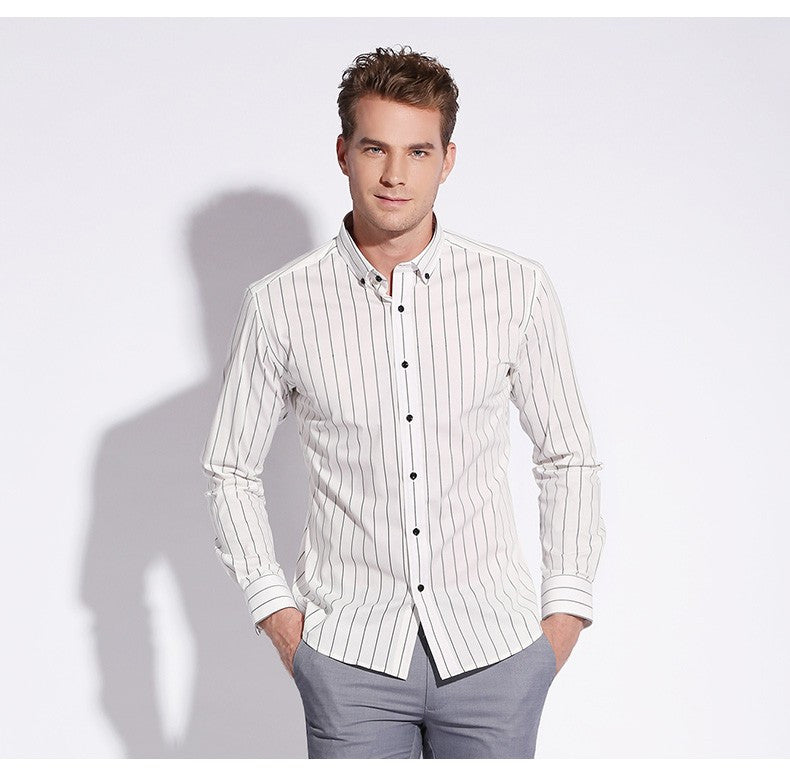 1334916c34 100% Cotton High Quality Men Casual Stripe Shirts Square Collar Button-Up  Long Sleeve