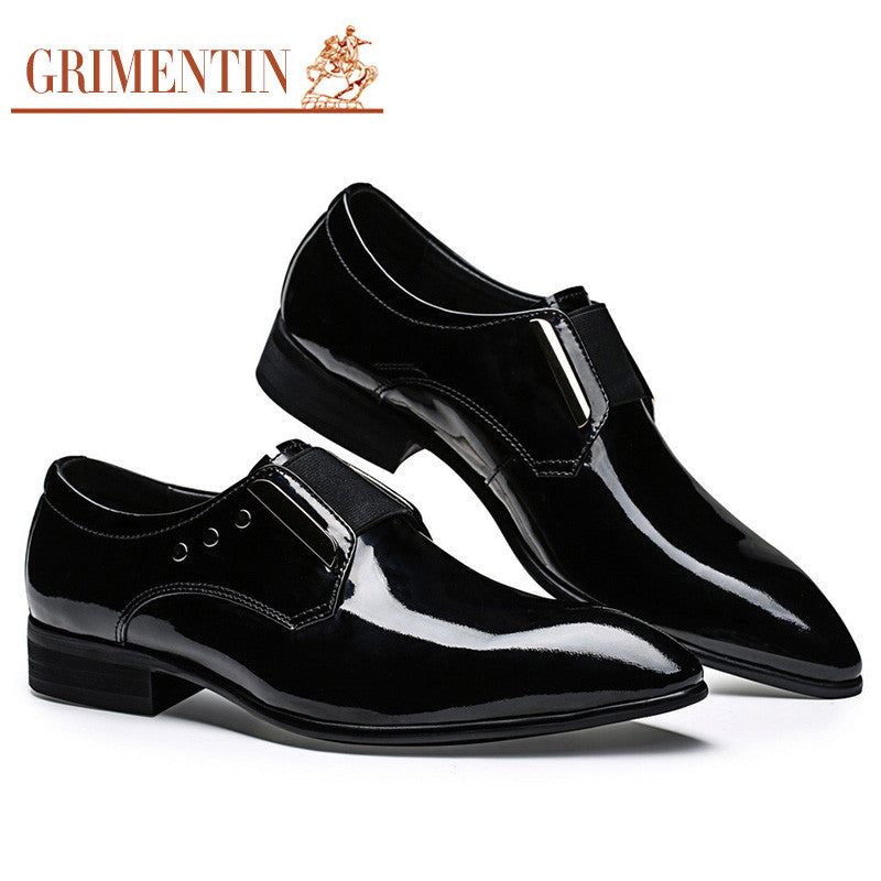 Luxury Genuine Patent Leather Formal Mens Dress Shoes Black Italy